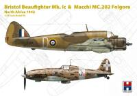 H2K72005 Bristol Beaufighter Mk.Ic & Macchi MC.202 Folgore North Africa 1942 (ex-Hasegawa)!