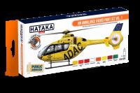 HTK-CS76 Air Ambulance (HEMS) paint set of 8 x 17ml vol. 1 -- ORANGE LINE