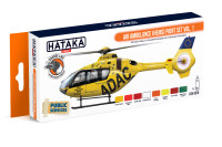 HTK-CS76 Air Ambulance (HEMS) paint set of 8 x 17ml vol. 1 -- ORANGE LINE