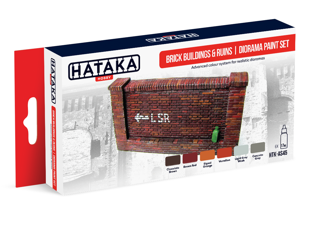 HTK-AS45 Brick buildings & ruins diorama paint set