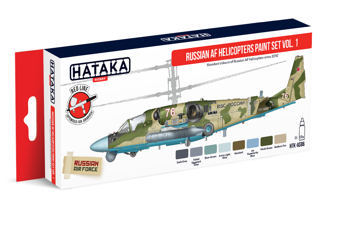 HTK-AS86 Russian AF Helicopters paint set of 8 x 17ml vol. 1