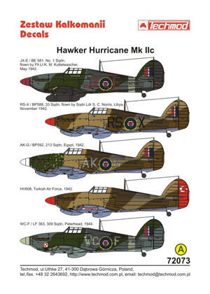 72073 Hawker Hurricane IIc decals